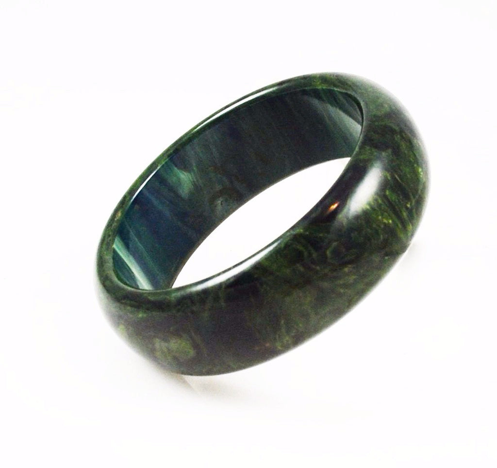 Spinach Green Bakelite Bangle Bracelet Chunky