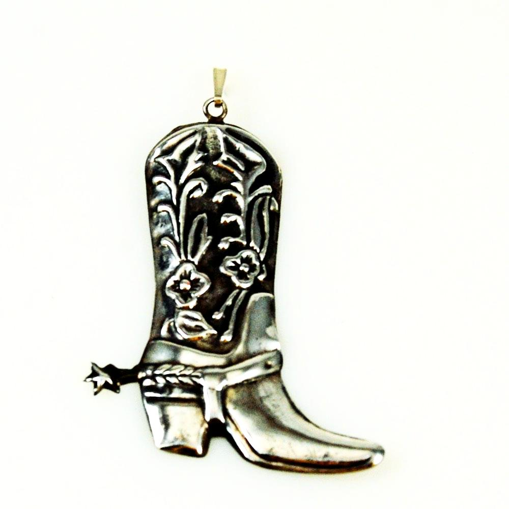 Sterling Silver Western Cowboy Boot Pendant Vintage