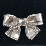 Large Sterling Silver Bow Brooch Vintage