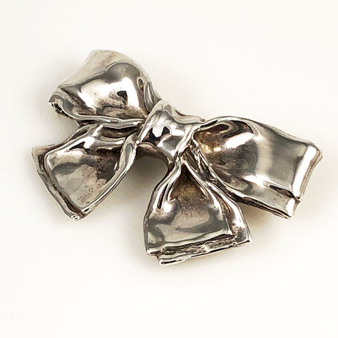 Large Sterling Silver Bow Brooch