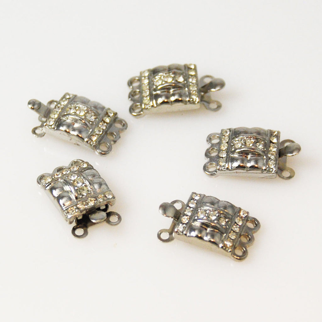 Rhinestone Box Clasps Triple Strand Necklace Vintage
