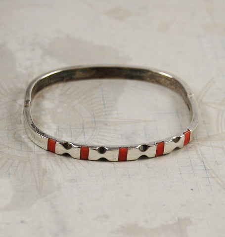 Mexican Sterling & Coral Inlaid Bracelet Vintage