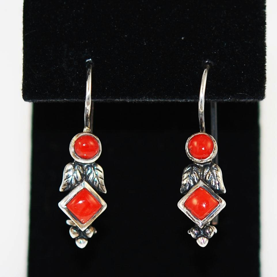 Red Coral & Sterling Native American Earrings