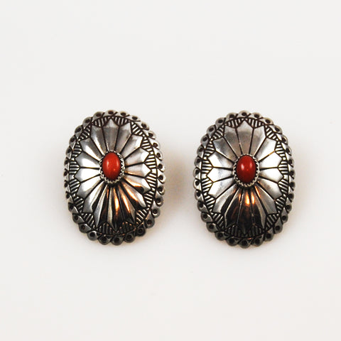 Sterling & Red Coral Native American Earrings