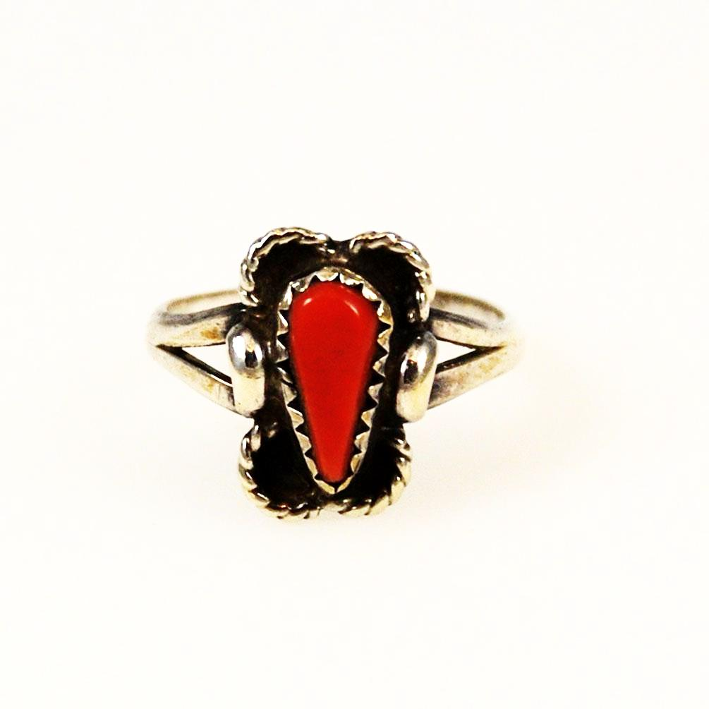 Coral and Sterling Silver Native American Ring