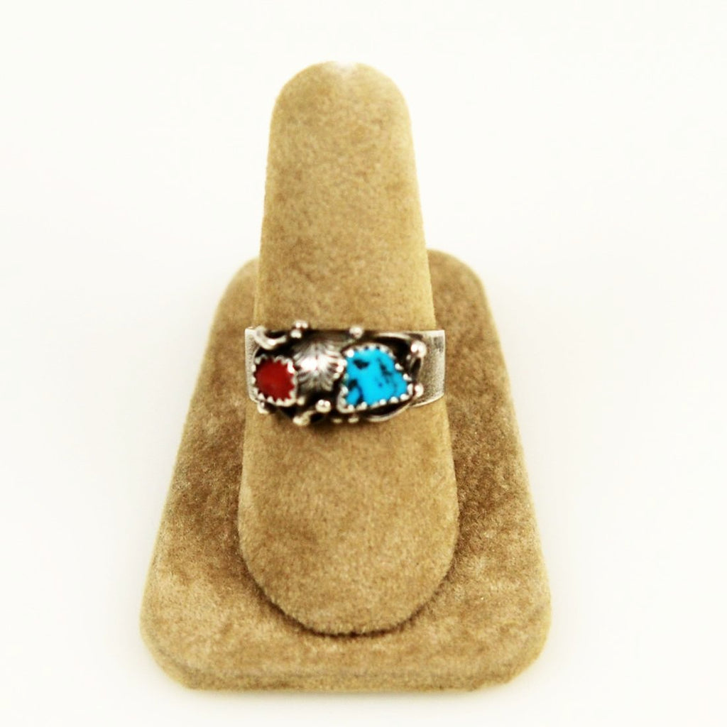Turquoise , Coral & Sterling Silver Native American Ring