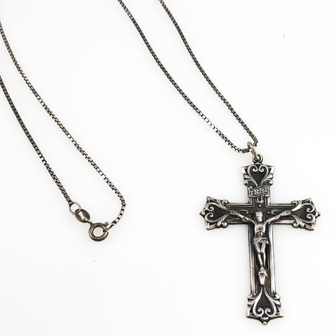 Sterling Silver Cross Crucifix Necklace by Chapel