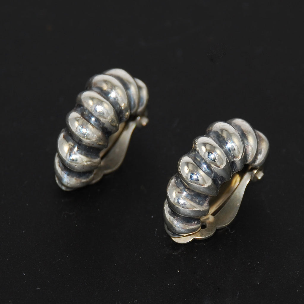 Sterling Silver Shrimp Clip On Earrings 1950's
