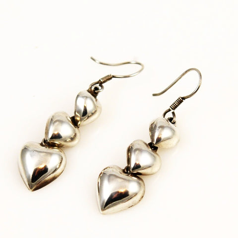 Mexican Sterling Triple Heart Earrings Taxco