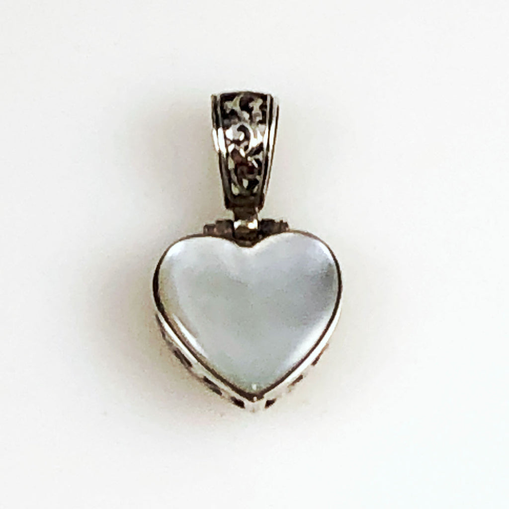 Sterling Filigree Mother of Pearl Heart Pendant Reversible