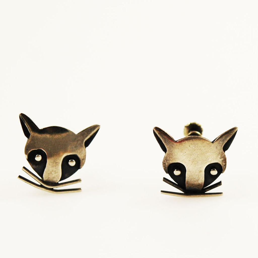 Sterling Silver Fox Screw Back Earrings