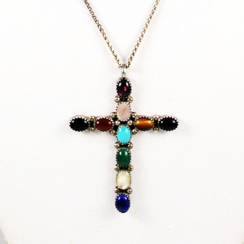 Large Sterling Gemstone Cross Necklace Signed LB