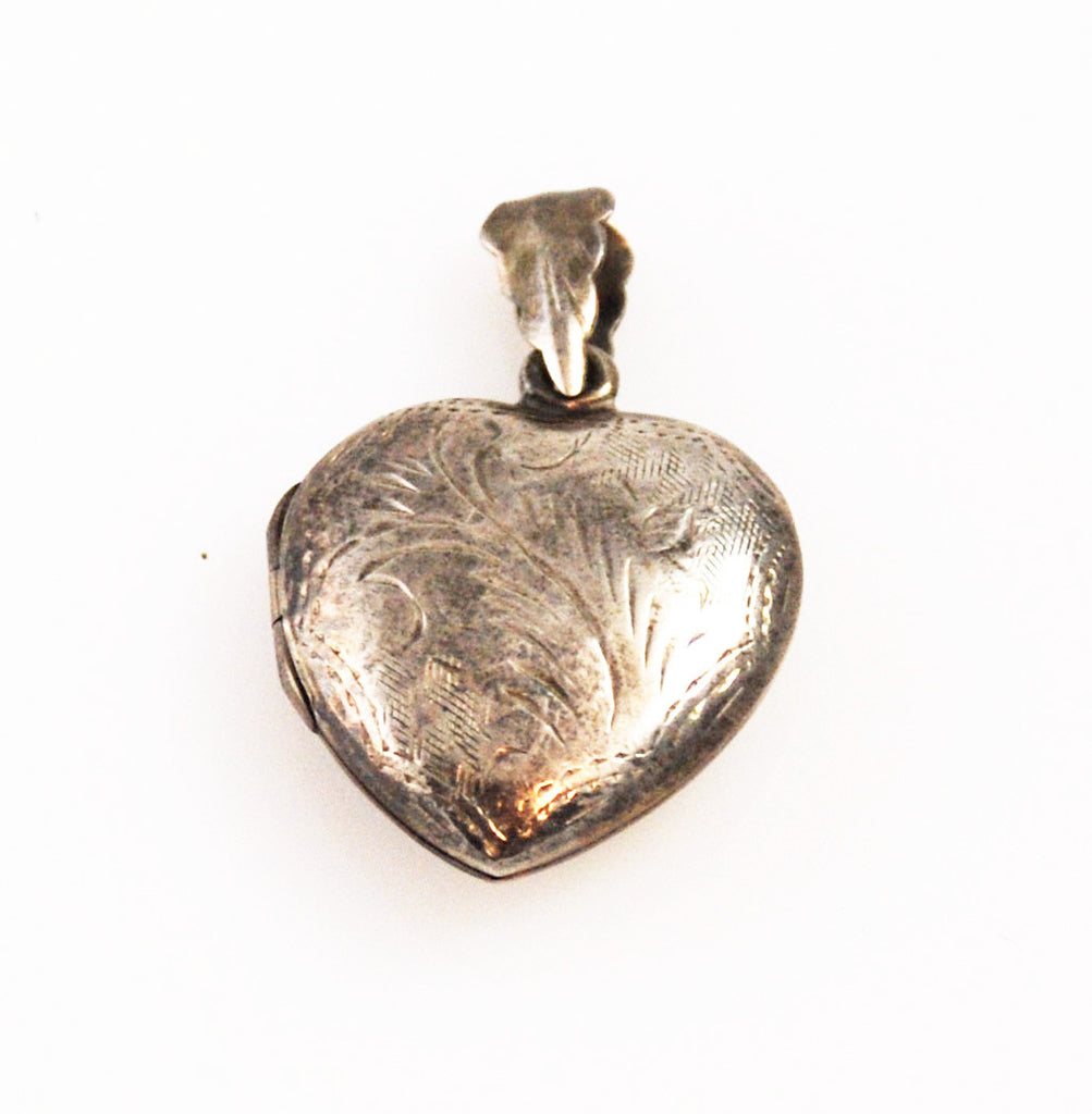 Sterling Heart Locket Charm Embossed