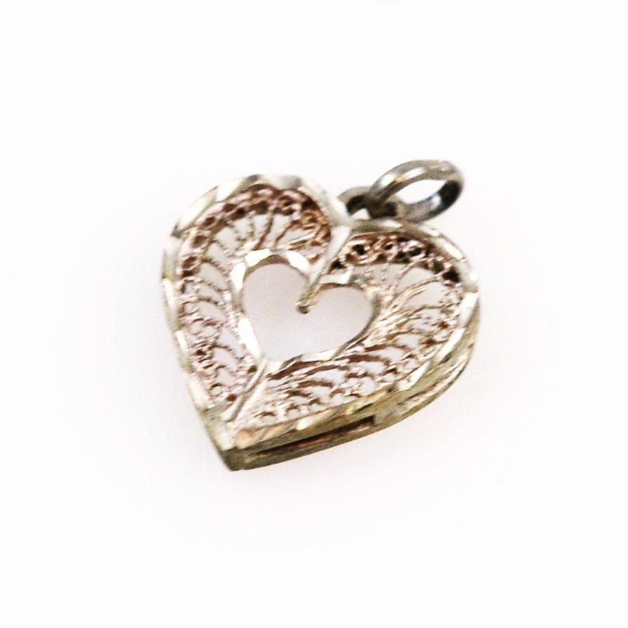 Sterling Filigree Heart Charm