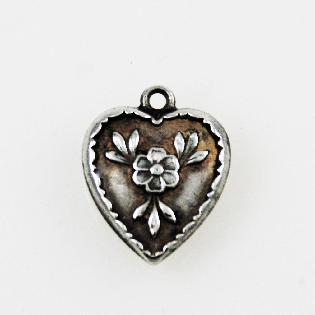 Sterling Heart Charm - Forget Me Nots Engraved
