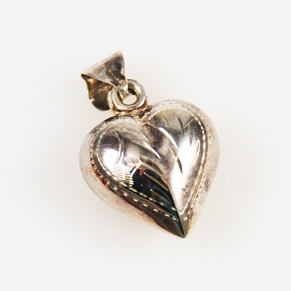 Sterling Hand Engraved Puffy Heart Charm