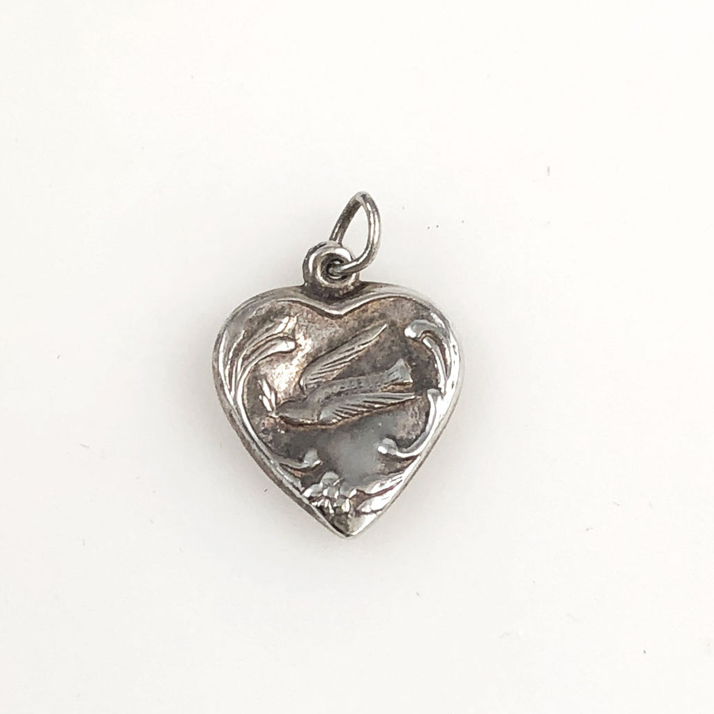 Vintage dove heart sterling charm
