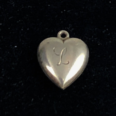 sterling silver L heart charm