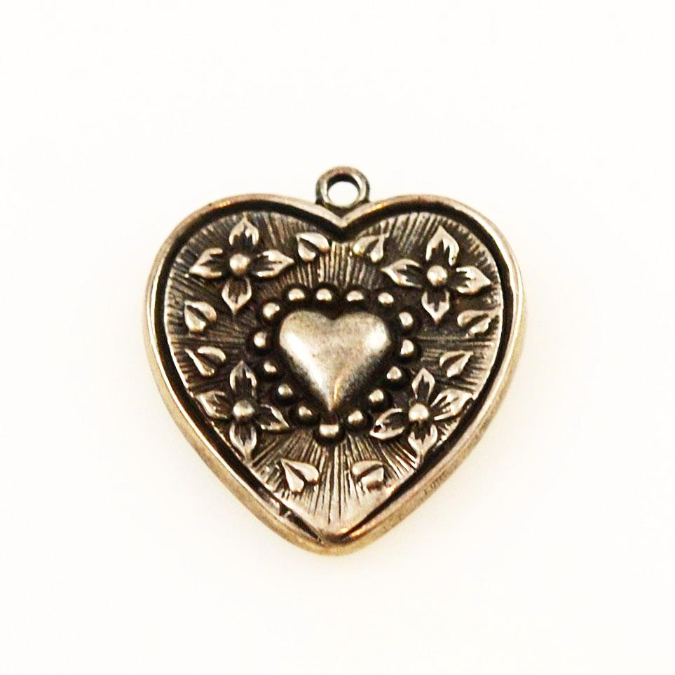 Sterling Heart Charm With Flowers Vintage