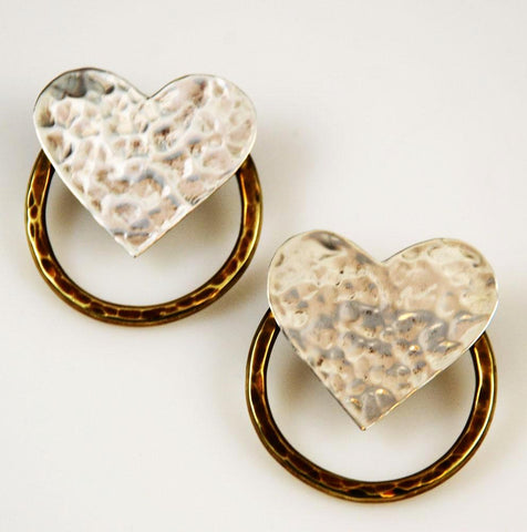 Sterling Silver & Brass Heart Earrings