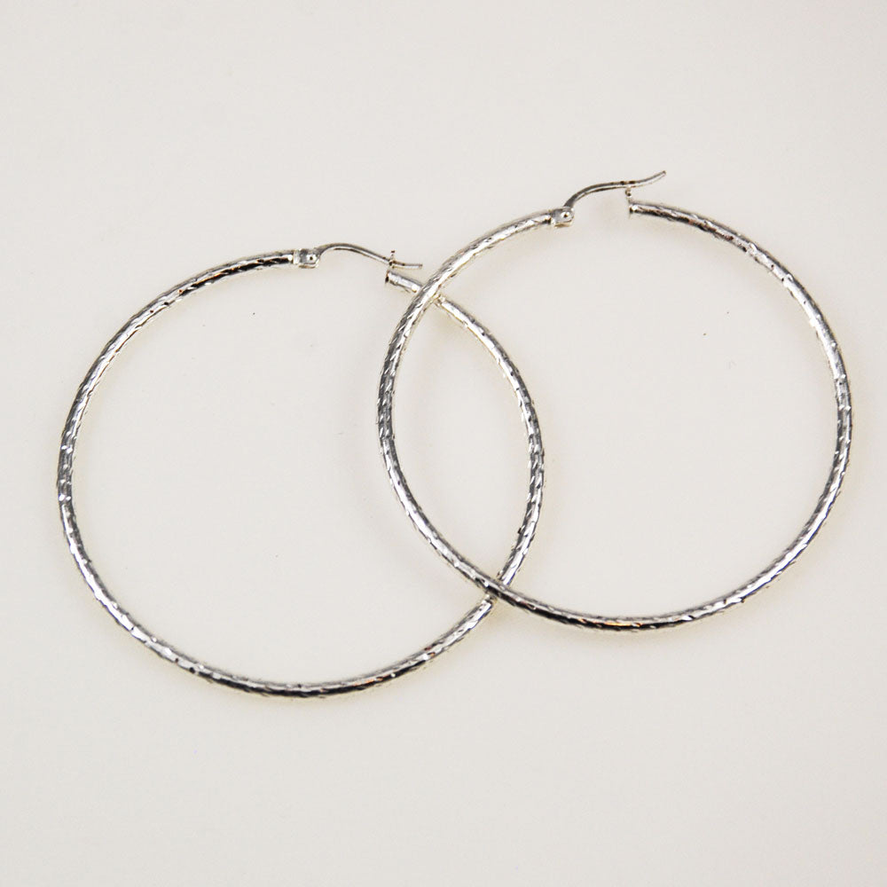 Large Sterling Silver Hoop Earrings 2 inch