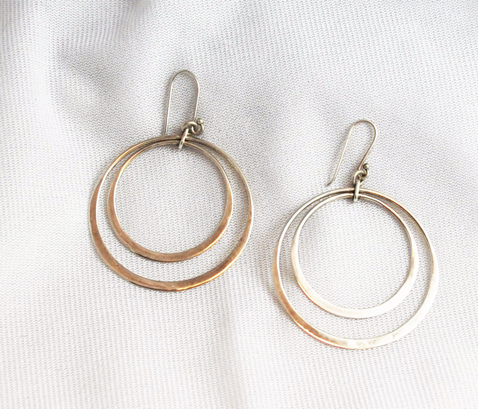 Sterling Double Hoop Pierced Earrings Vintage