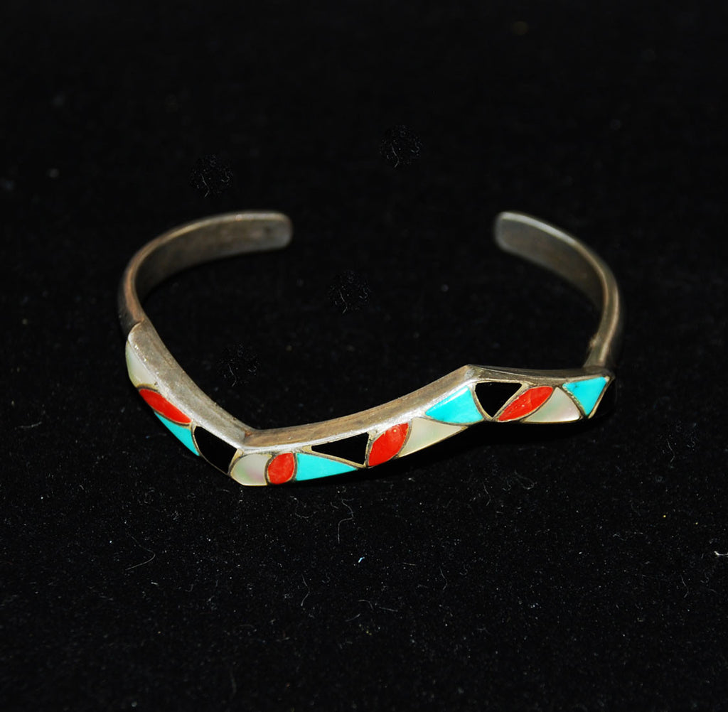 Native American Sterling Turquoise Coral Inlaid Bracelet