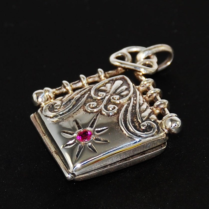 Sterling & Ruby Locket Pendant