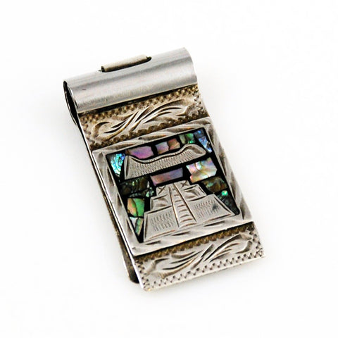 Mexican Sterling Abalone Money Clip Vintage