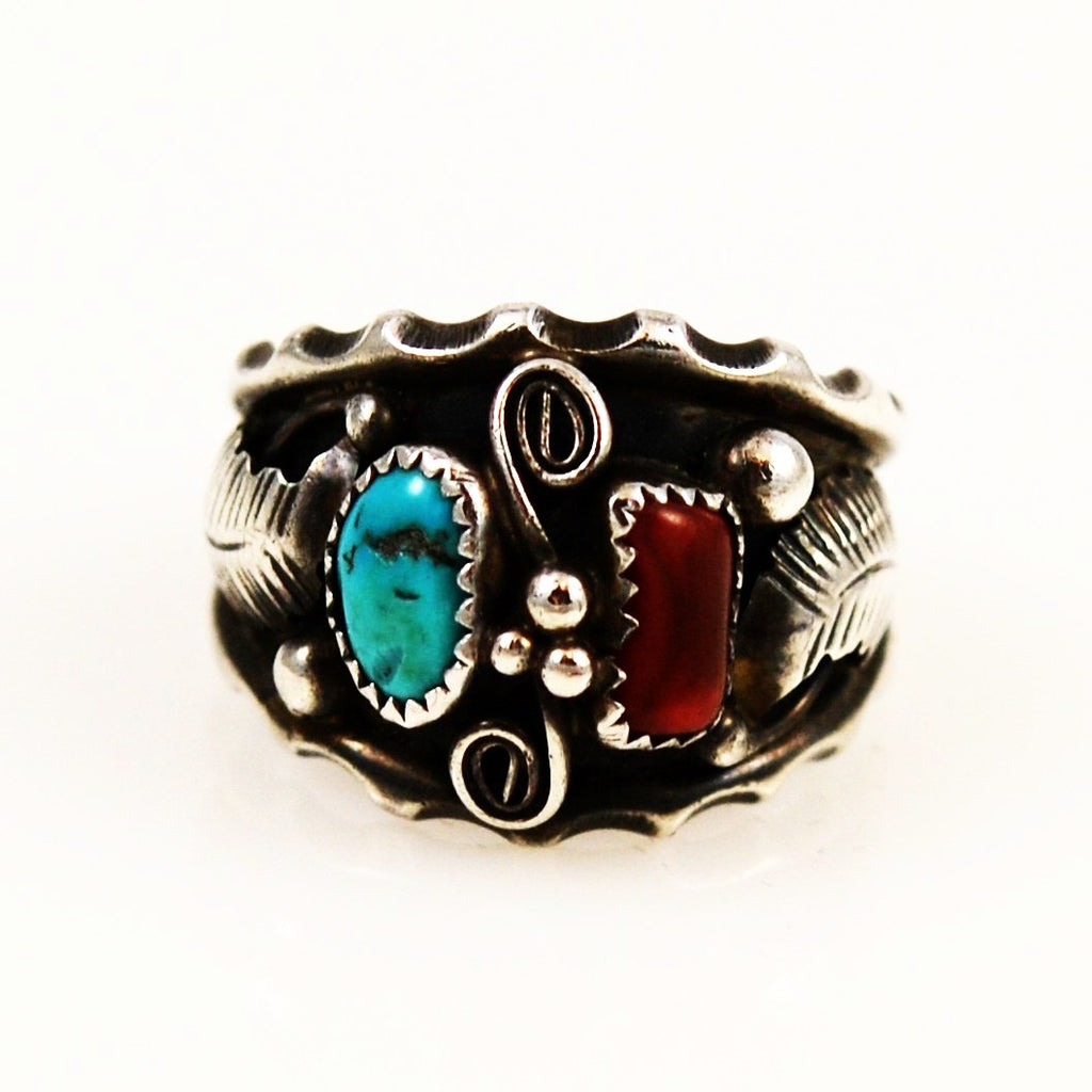 Men's Turquoise & Coral Navajo Ring Size 12