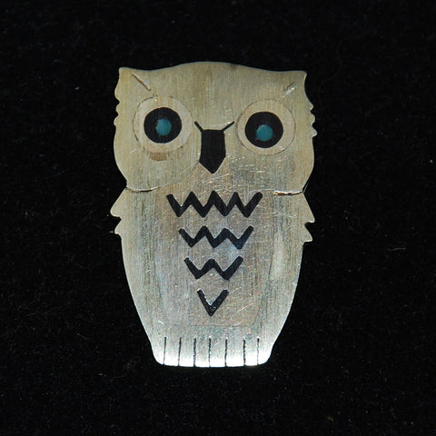 Antique Mexican Sterling Owl Brooch