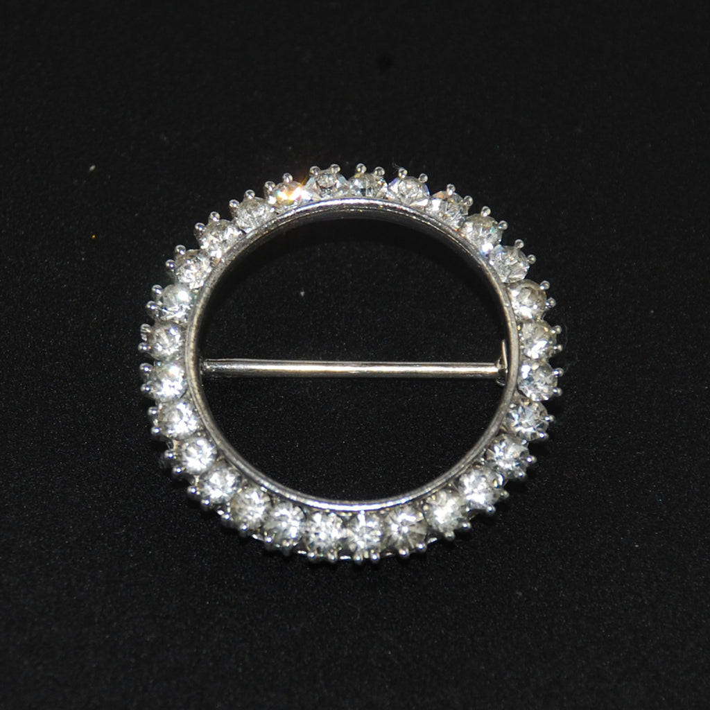 Sterling Rhinestone Circle Brooch Vintage