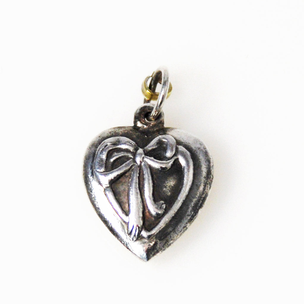 Sterling Silver Heart Charm With Ribbon Victorian