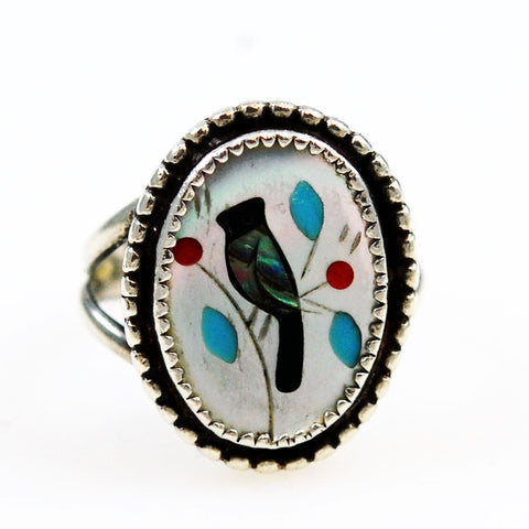 Zuni Inlaid Bird Sterling Ring 6½