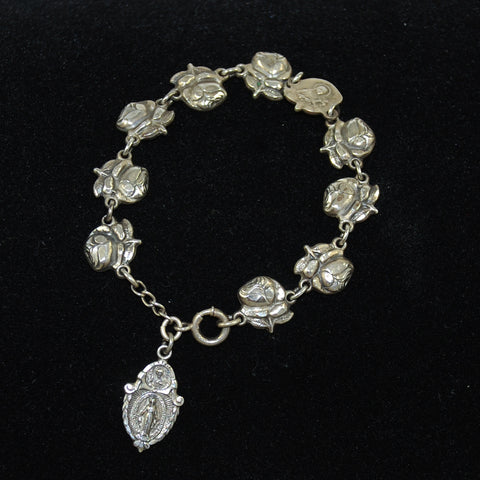 Sterling Rose Saints Charm Bracelet