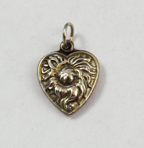 Sterling Heart Thistle Charm Vintage