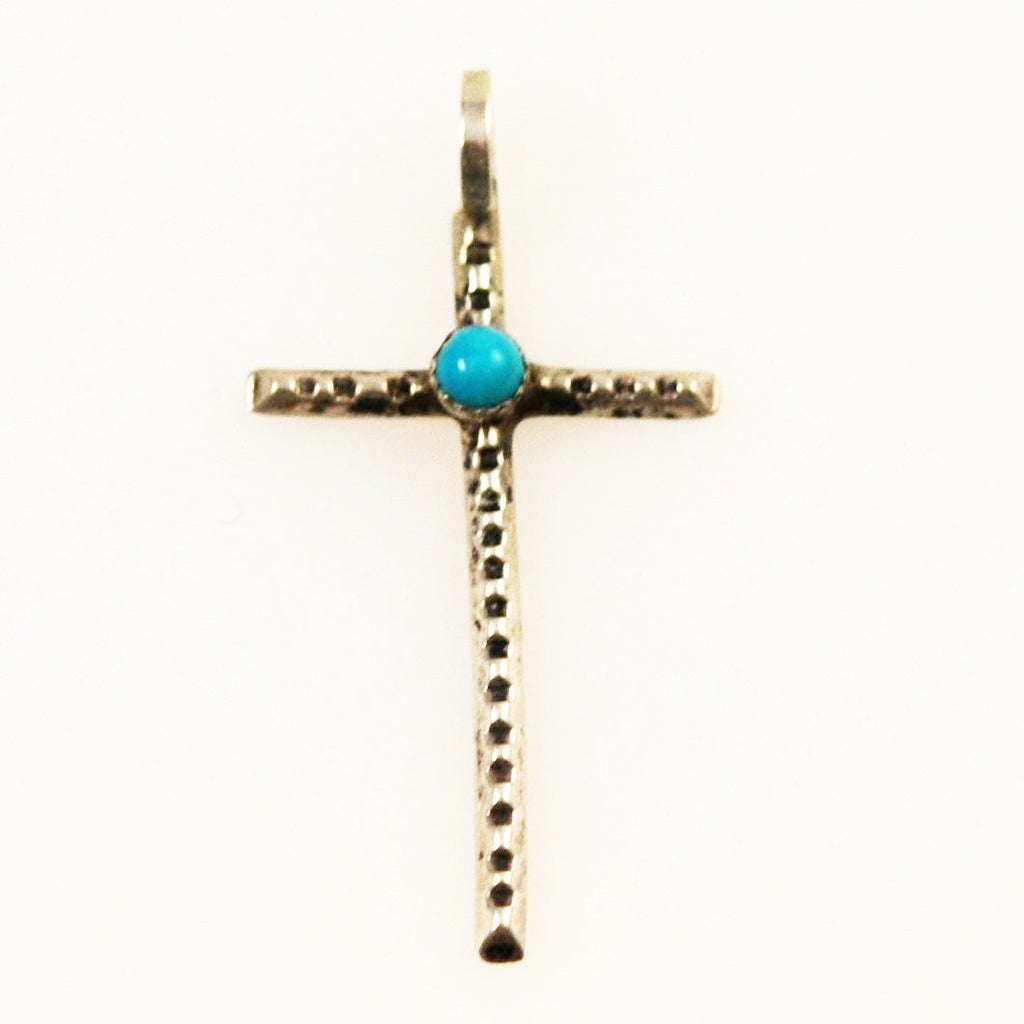 Sterling Silver & Turquoise Cross Pendant Vintage