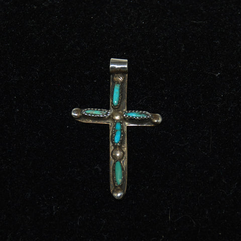 Sterling Silver & Turquoise Zuni Cross Pendant