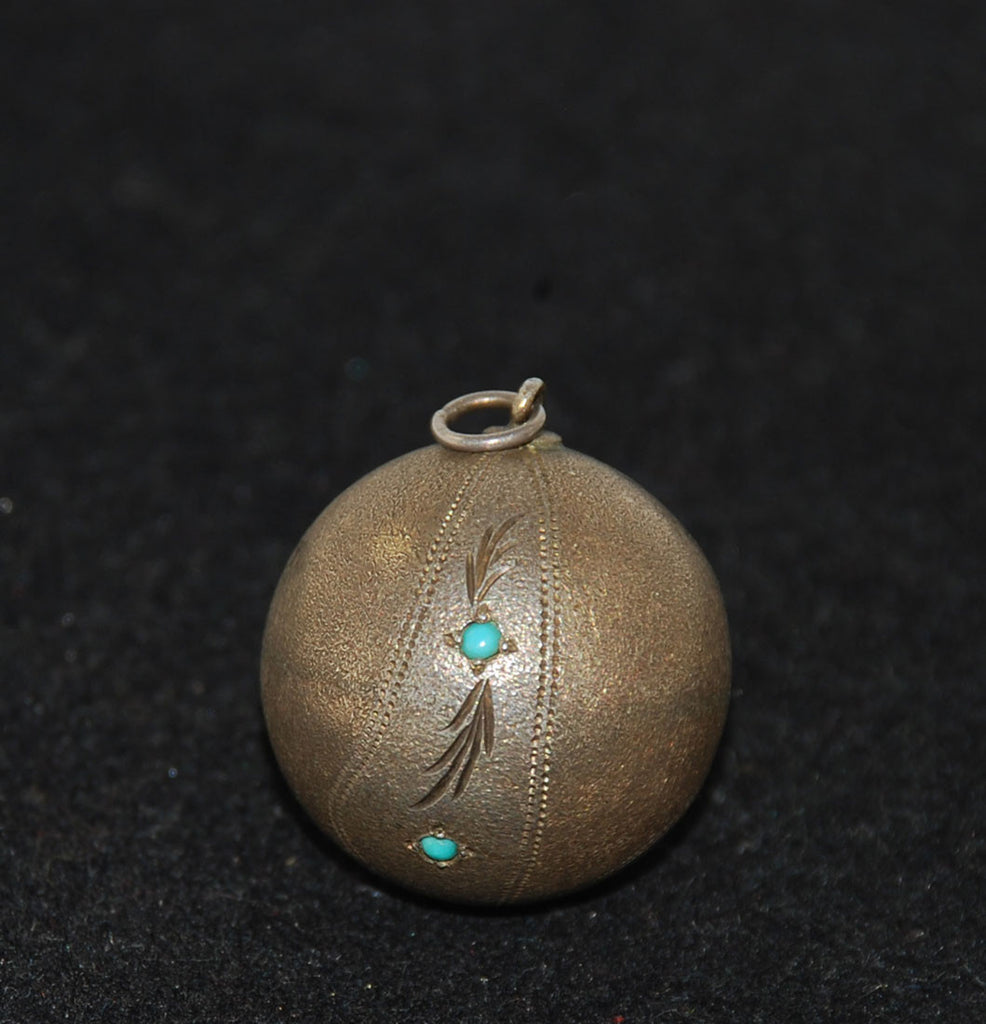 Antique Sterling Turquoise Ball Pendant