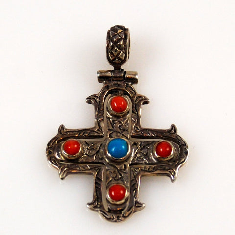 Sterling Cross with Turquoise & Coral
