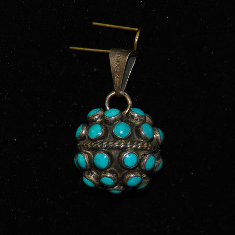 Vintage Turquoise Ball Pendant Mexican Silver