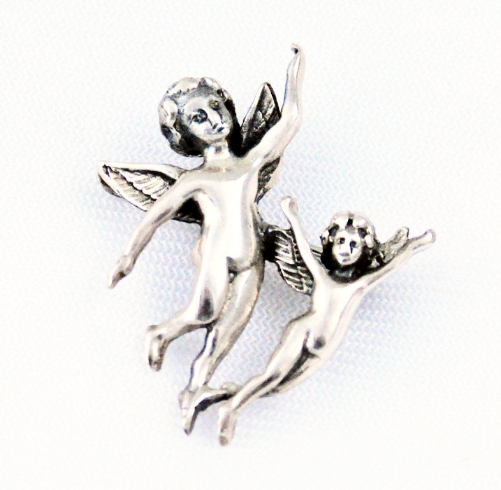 Sterling Silver Cherubs or Angels Brooch Vintage