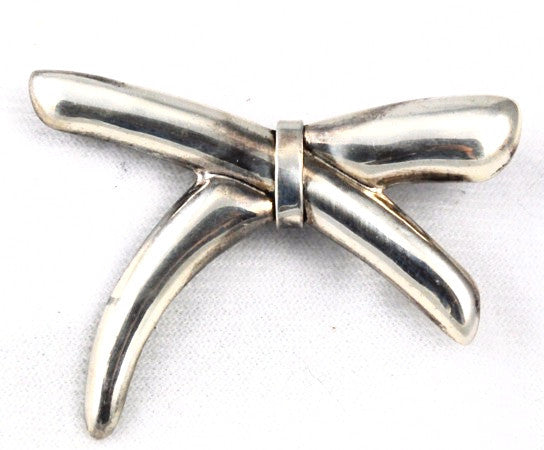 Taxco Mexico Sterling Vintage Bow Brooch Signed TC-168
