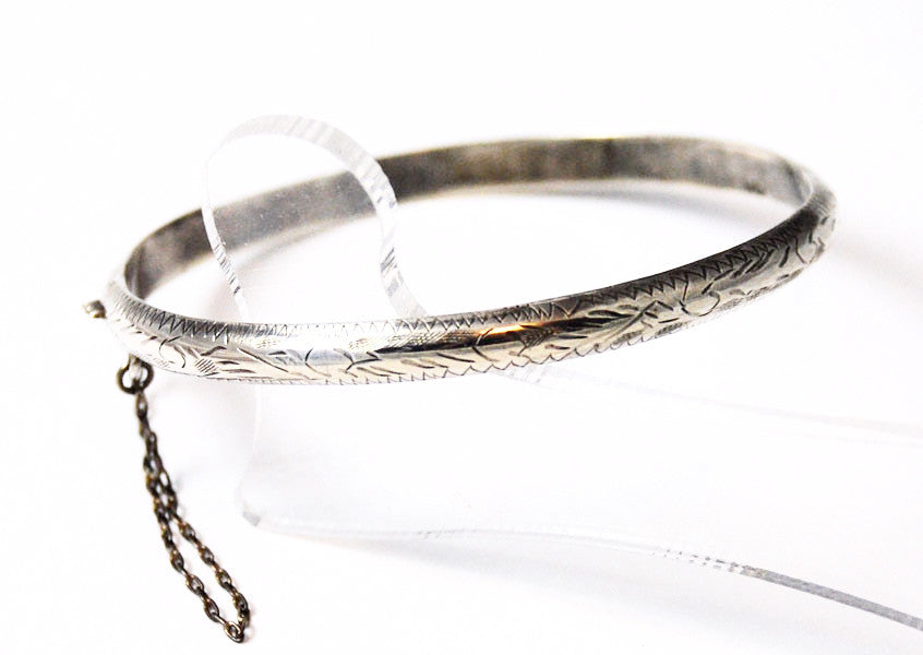 Sterling Hinged & Etched Bangle Bracelet Vintage