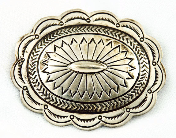 Native American Sterling Stamped Concho Brooch Vintage