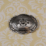 Native American Sterling Concho Brooch Signed Vintage