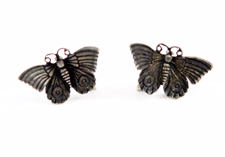 Sterling Butterfly Screw On Earrings Vintage