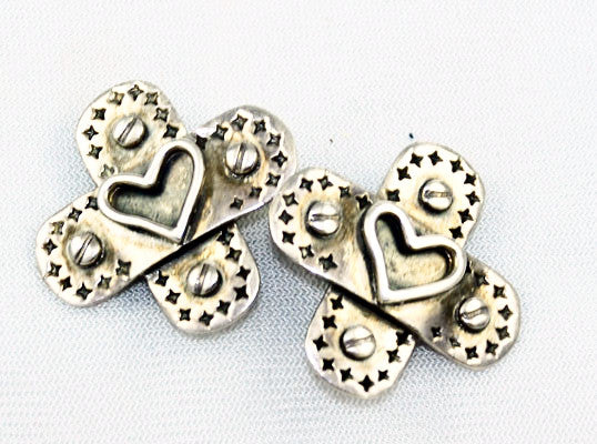 Sterling Cross & Heart Earrings Signed JM