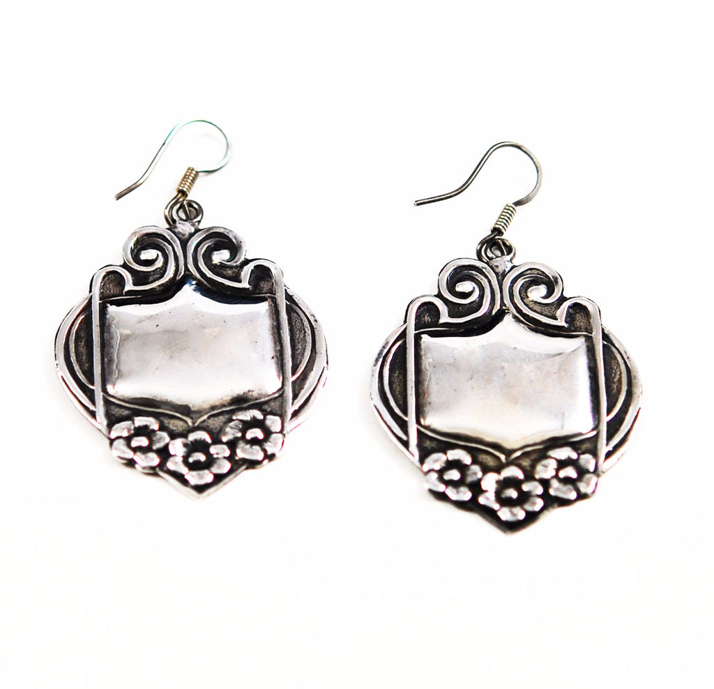 Large Sterling Silver Earrings Mexican Art Nouveau