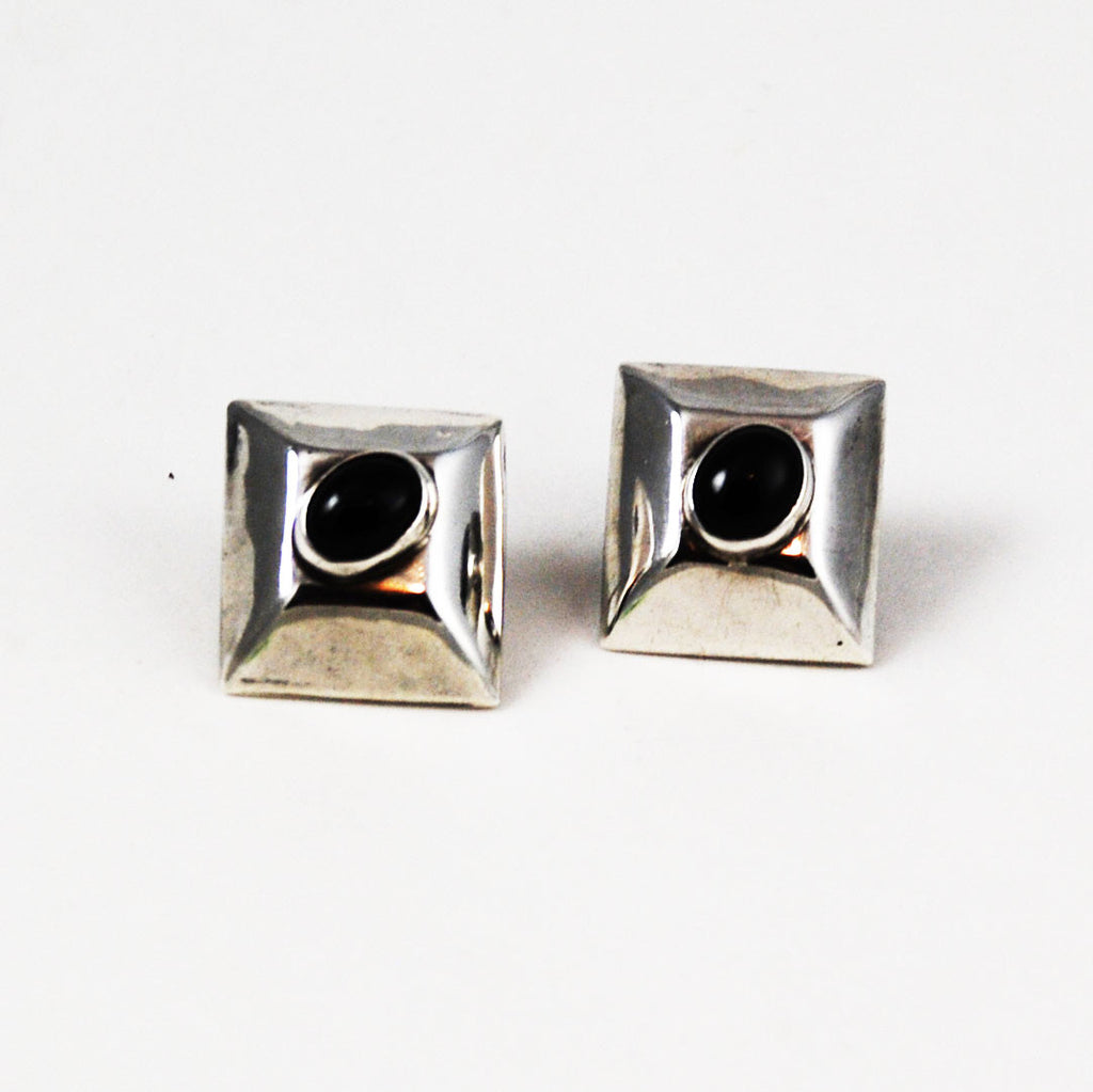 Sterling Taxco Mexico Black Obsidian Earrings
